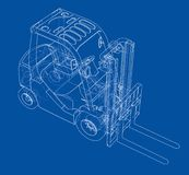 Forklift concept. Vector. Rendering of 3d. Wire-frame style. The layers of visible and invisible lines are separated Stock Images