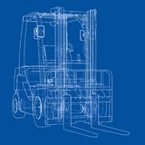 Forklift concept. Vector. Rendering of 3d. Wire-frame style. The layers of visible and invisible lines are separated Stock Photo