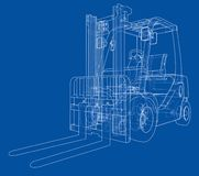Forklift concept. Vector. Rendering of 3d. Wire-frame style. The layers of visible and invisible lines are separated Royalty Free Stock Photography