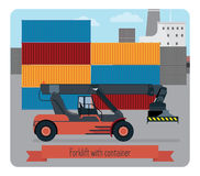 Forklift with container. The background shows a port terminal, part of the ship, a plurality of containers Stock Images