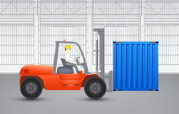 Forklift and container Stock Photo