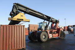 Forklift and container port Stock Photography