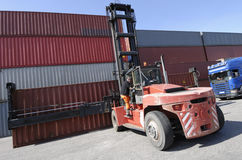 Forklift, container and truck stock photos