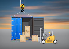 Forklift container Stock Photos