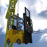 Forklift Crane. Crane carrying a forklift high above the ground Royalty Free Stock Photo