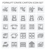 Forklift crate carton. Forklift working with crate and carton icon set stock illustration