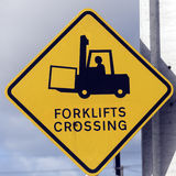 Forklift Crossing Royalty Free Stock Photos