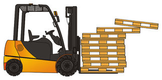 Forklift and crumble pallets. Yellow forklift with many fall wooden pallets Royalty Free Stock Images