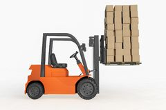 A forklift 3d rendering Royalty Free Stock Image