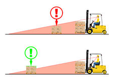 Forklift dangers. The dangers of driving a forklift truck. Vector Royalty Free Stock Images