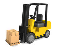 Forklift delivering boxes Stock Photos