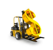 Forklift with dollar Royalty Free Stock Images