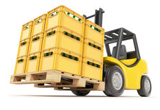Forklift with drink crates Royalty Free Stock Photo