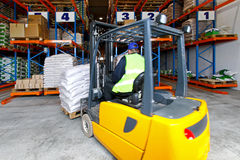 Forklift drive Royalty Free Stock Photos