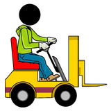 Forklift driver. Silhouette-man on transportation icon - forklift driver Royalty Free Stock Photography