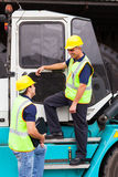Forklift driver co-worker Stock Photo