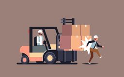 Forklift driver hitting colleague factory accident concept warehouse logistic transport driver dangerous injured worker. Horizontal vector illustration royalty free illustration