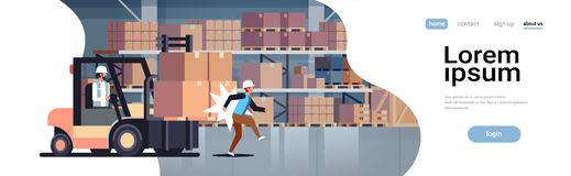 Forklift driver hitting colleague factory accident concept warehouse logistic transport driver dangerous injured worker. Storehouse room interior horizontal royalty free illustration