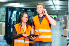 Forklift driver and supervisor at warehouse. Logistics Teamwork - Worker or warehouseman and his female coworker with tablet computer at warehouse of freight Stock Images