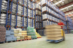 Forklift Driver In Warehouse Royalty Free Stock Photography