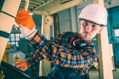 Forklift Driving Operator Stock Photo