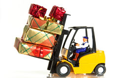 Forklift e presentes Imagem de Stock