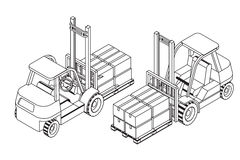 Forklift elevate the pallet with cardboard boxes Royalty Free Stock Photography