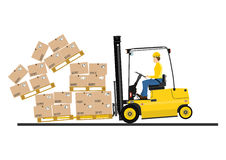 Forklift with extensions Royalty Free Stock Photo