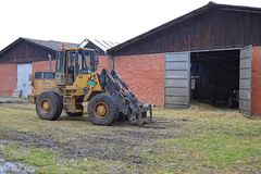 Big Forklift Loader at Farm stock photos
