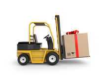 Forklift with gift box Royalty Free Stock Photography