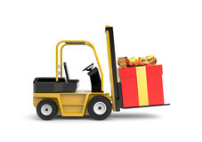 Forklift with gift box Royalty Free Stock Photos