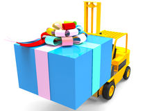 Forklift with gift box Stock Images