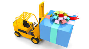 Forklift with gift box Stock Photo