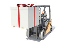 Forklift with a gift box.  Royalty Free Stock Images