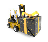 Forklift with gift box Stock Image