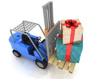 Forklift with  gifts Royalty Free Stock Photos