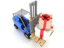 Forklift with  gifts Stock Photo