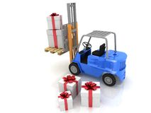 Forklift with gifts boxes Stock Photo