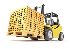 Forklift with gold bars Stock Image