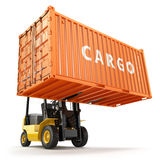 Forklift handling the cargo shipping container box. Stock Photos