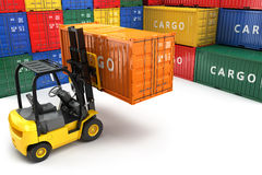Forklift handling the cargo shipping container box. Royalty Free Stock Image