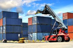 Forklift handling the container Stock Photo
