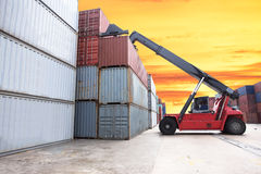 Forklift handling the container box Stock Photo
