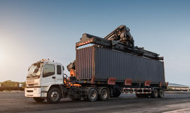 Forklift handling container box loading Stock Image