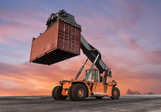 Forklift handling container box loading Royalty Free Stock Image