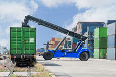 Forklift handling container box loading to freight train Royalty Free Stock Photos