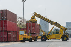 Forklift handling container box loading to freight train stock photos