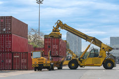 Forklift handling the container box in logistic zone Stock Photography