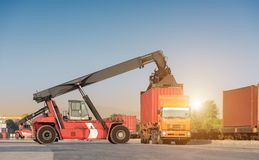 forklift handling container loading box Royalty Free Stock Photo