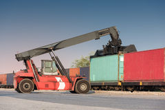 forklift handling container loading box Stock Photo